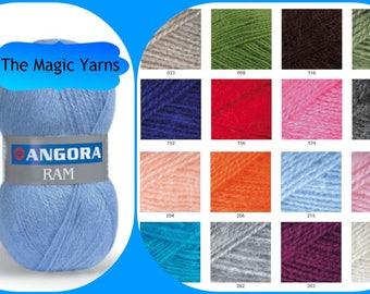 ANGORA yarn,Yarn Art ANGORA RAM,wool,angora goat yarn,winter yarn, fingering yarn,3-4 ply yarn,soft yarn,fine weight,neon pink, denim,teal