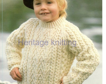 boys childrens aran sweater knitting pattern 99p pdf
