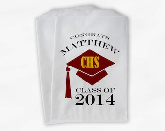2018 Graduation Cap Personalized Candy Buffet Bags - Set of 25 Maroon & Gold High School Grad Party Favor Bags in School Colors (0060)