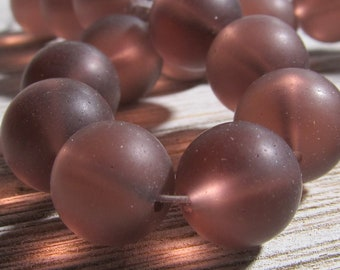 Sea Glass Beads 12mm Smooth Frosted Semi Transluscent Grape Purple Rounds - 10 Pieces