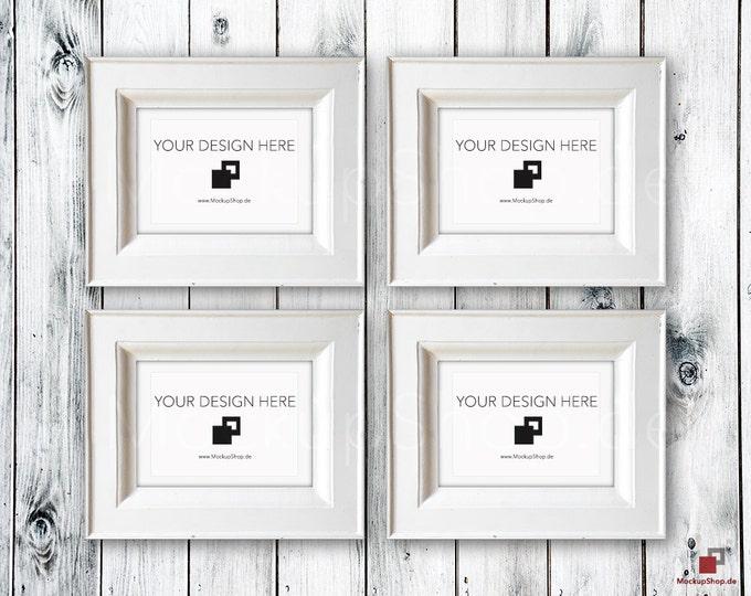 VINTAGE FRAME MOCKUP A4, Set of 4, wood frame mockup in Vintagel, Old white Frame Mockup, Old Vintage Frame Mock-up, Vintage nordish style