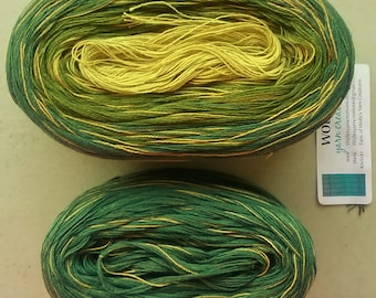 Kit -- AVOCADO MEDLEY -- Sport Weight -- Color Changing Cotton yarn (150 gr /480 yards)