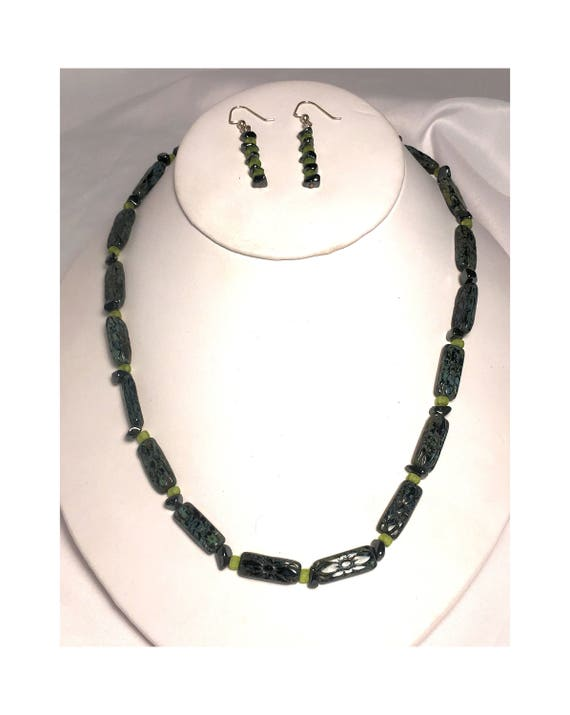 Carved Picasso Stone and Hematite with Jade Pendant Necklace and Dangle Earring Set