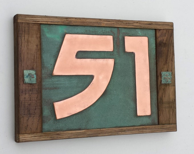 """Arts and Crafts Copper number - Oak Wood framed 3""""/75mm, 4""""/100mm, 2 x nos. in Bala font, polished and laquered g"""