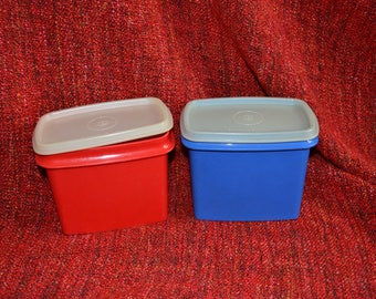 2 Vintage Tupperware Containers, Red and Blue, Clear Lids