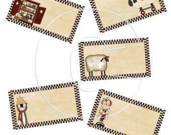 Business Card JPEG Files You customize Template Sheep Raggedy Prim Cabinet and Santa 5 Digital JPEG Images