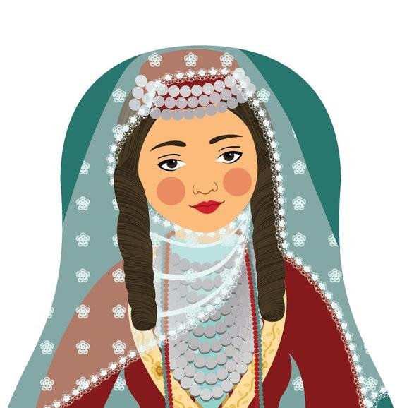 Armenian Doll Art Print with traditional folk dress, matryoshka