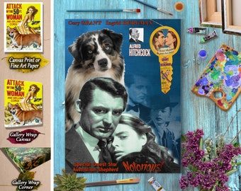 Australian Shepherd Art Aussie Dog Notorious Movie Poster Vintage  Style Giclee Print  or Canvas Print Gift for Her Gift For Him