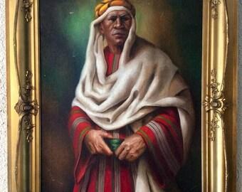 Sale Antique Orientalist Oil Painting Portrait of a Middle Eastern Gentleman Nomad Signed O/C European Art Framed