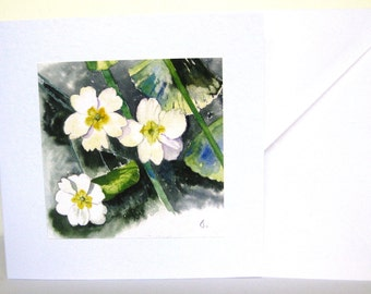 Primrose Watercolor Birthday Handmade card for Mom Floral Card Woodland Flower Notelet for Mum, Card for Gran, Thank You Card, Art Card