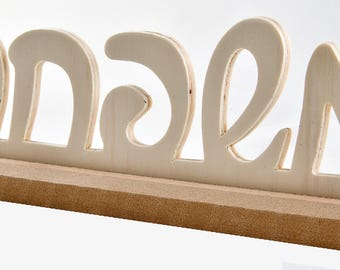 Wooden sign Family on Hebrew / plywood sign / wall decor / office decor / wooden plate