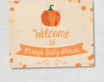 LITTLE PUMPKIN welcome sign, baby shower sign, fall, lil punkin shower, personalized, customized, 8x10 sign, digital file, printable