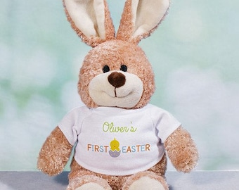 First Easter Personalized Easter Bunny, plush bunny, plush toy, Easter gift for kids, easter basket stuffer, brown, customized -gfy86101068L