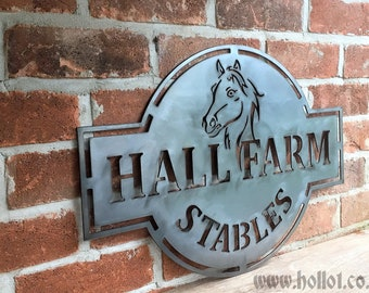 Stables Sign - Custom Steel Metal -personalised Family farm horses animals gift unique