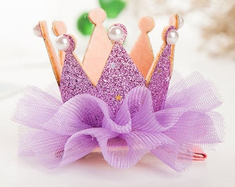 hair Crown Princess purple glitter tulle and pearls rhinestones