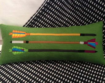 Archery Nut Upcycled Green Wool Designer Pillow