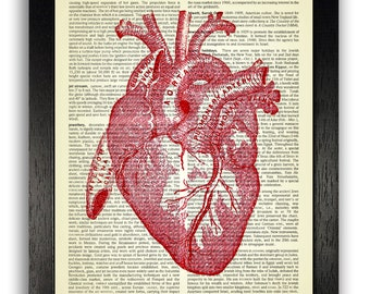 RED Anatomical Heart Print on Vintage Dictionary Page, Anatomy Heart Wall Decor, Vintage Illustration Poster, Anniversary Gift, Bedroom Art