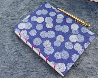 Coptic Stitch Journal | Washi Paper Cover Blue | A5 size 22 cm x 16 cm | 160 ruled pages
