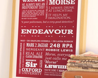 Inspector Morse Print, Typographic Print, ENDEAVOUR Poster, Detective Art, TV Quote Print, Gift for Dad, Gift for Uncle
