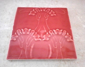 Art Nouveau ceramic tile; Art Nouveau decor; Art Nouveau design; Jugendstil; Ceramic tile; Floral decor; Floral wall decor; Trivet tile.