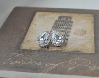 14K Gold Pear Shaped Earrings, 14K Stud Earrings, Halo Stud Earrings, Bridal Earrings
