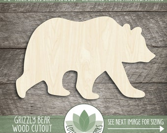 Grizzly Bear Wood Shape, Wooden Grizzly Bear Cutout, Blank Wood Shape, Unfinished Wood For DIY Projects, Many Sizes, Wood Animals