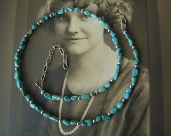 Vintage Boho Turquoise Necklace, Southwestern Silver Necklace, Turquoise and Silver Beaded Necklace, Turquoise Nugget Necklace