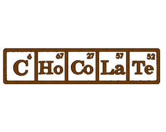 Periodic table chocolate etsy chocolate periodic table of elements machine embroidery design chocolate embroidery design chocolate pattern urtaz Choice Image