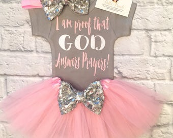 I Am Proof GOD Answers Prayers Bodysuit, Baby Girl Clothes, Answered Prayer Bodysuits, Religious Shirts, Proof GOD Answers Prayers Bodysuits