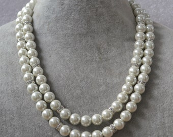 double strand 10 mm pearl necklace, pearl and rhinestone necklace, wedding necklaces, bridesmaid jewelry, rhinestone space pearl necklace