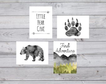 Nursery,gallery wall,collection,5x7 inches,set,of 4,Little bear,cave,watercolor,Baby boy,Nursery Decor,Grey,Nursery Art,gift for nursery,art
