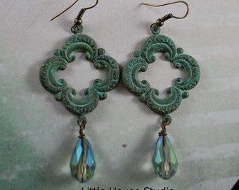 Ornate Patina Earrings, Turquoise Patina on Brass Earring, Smokey Teardrop Crystal