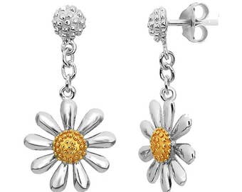 Silver Daisy Drop Earrings with 18ct Gold Plated Centres (13mm daisy)