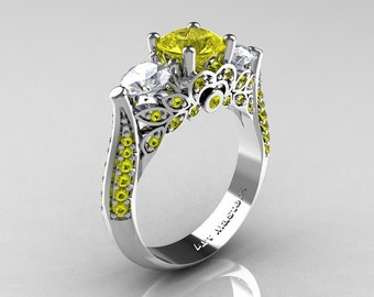 Classic 14K White Gold Three Stone Yellow and White Sapphire Solitaire Ring R200-14KWGWSYS