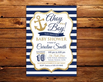 Ahoy Its a Boy Baby Shower Invitation. Nautical Baby Shower Invitation. Ahoy Its A Boy. Navy Blue and Gold. Anchor and Stripes.