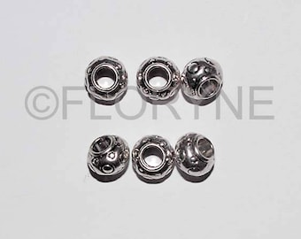 6 beads in silver decorated 6 x 8 Mm