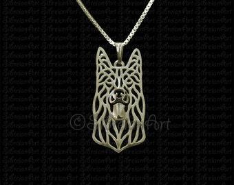 Black German Shepherd dog - gold pendant and necklace.