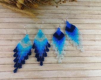 Sea blue earrings Beaded earrings Chandelier earrings Niagara Long earrings Crystal earrings Dangle earrings Boho earrings Navy peony