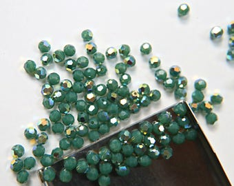 4mm Swarovski 5000  Palace Green Opal Aurore Boreale Faceted Round Beads 6/12/36/72/144/288/720/1440 Pieces Jewelry making beads