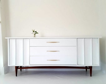 Sold#Lovely mid Century dresser credenza, white, gold, wood  painted vintage dresser, danish modern, atomic, kent coffey