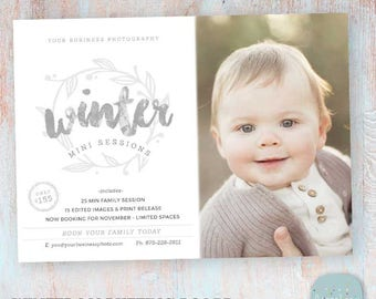 Winter Photography Marketing Board - Winter Mini Sessions - Photoshop template - IW025 - INSTANT DOWNLOAD