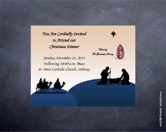 Church Christmas Party Dinner Invitation Digital Printable