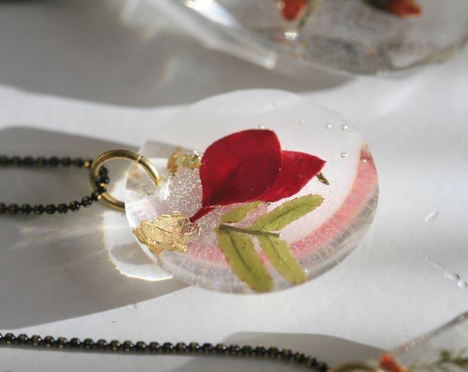 Wicklow Wildplant & Clear Resin Necklace | Brass and Resin | Irish Plant Necklace | Botanical Jewellery  | Jewelry | Geometric Jewellery