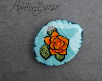 Orange Tattoo Style Rose on Celadon Green, Lampwork Focal Bead