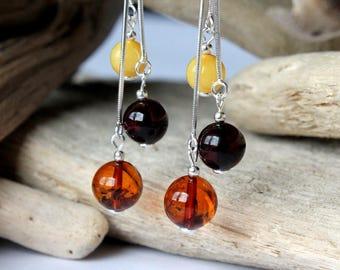 Multicolor amber earrings, amber jewelry, dangle earrings, natural Baltic amber, amber and silver,multi-color earrings, long amber earrings