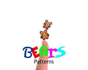 Beading Pattern Mini Teddy Bear Set, Brick Stitch or Peyote Bead Weaving, Cute Animal Charms