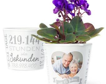 Silberhochzeit Geschenk Blumentopf (ø16cm)   Deko zum 25. Hochzeitstag oder silberne Hochzeit mit Herz-Rahmen für ein Foto (10x15cm)