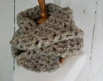 Melanie Long Cowl. Ready to Ship//OATMEAL BARLEY BEIGE Infinity Scarf//Crochet Scarf