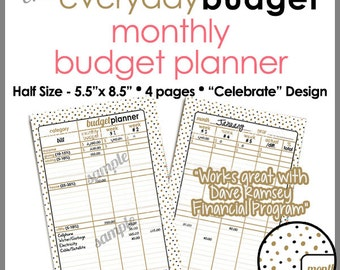 "HALF SIZE 5.5"" x 8.5"" - Monthly Budget Tracker Planner Printable Worksheet -  Celebrate Design- PB1504"