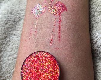 Iridescent Flamingo pressed glitter eyeshadow, cosmetic grade glitter, glitter eyeshadow, pressed glitter, eyeshadow, pink, orange